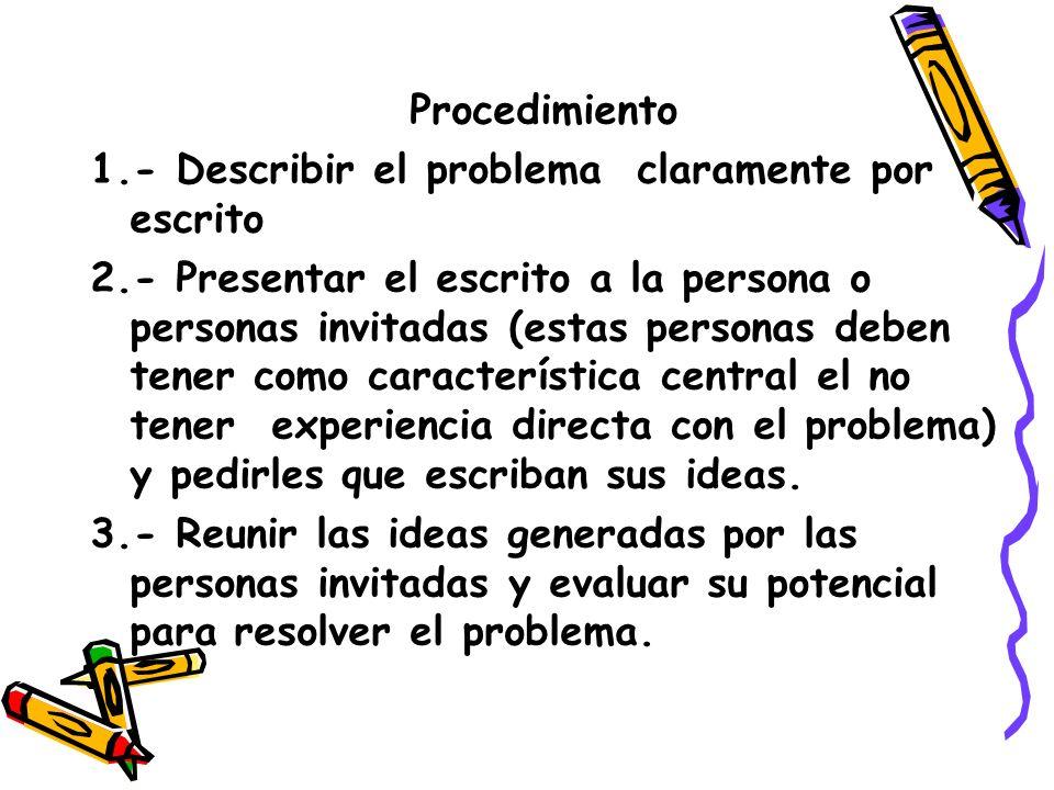 Procedimiento 1.- Describir el problema claramente por escrito.