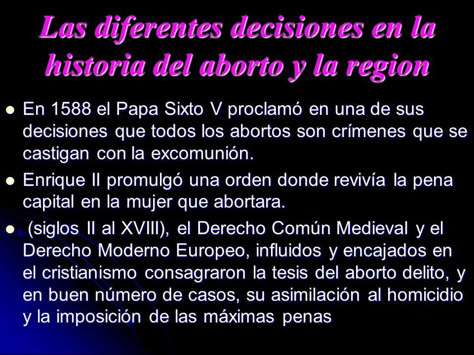 Las diferentes decisiones en la historia del aborto y la region