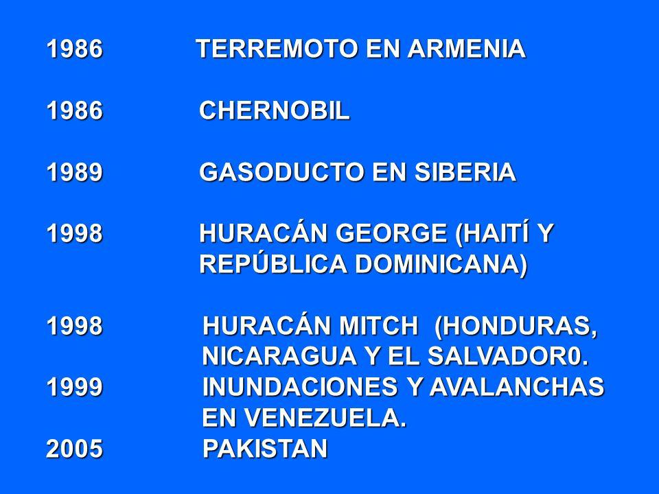 1986 TERREMOTO EN ARMENIA 1986 CHERNOBIL. 1989 GASODUCTO EN SIBERIA.