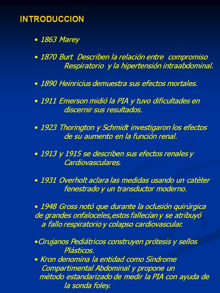 INTRODUCCION 1863 Marey. 1870 Burt Describen la relación entre compromiso. Respiratorio y la hipertensión intraabdominal.