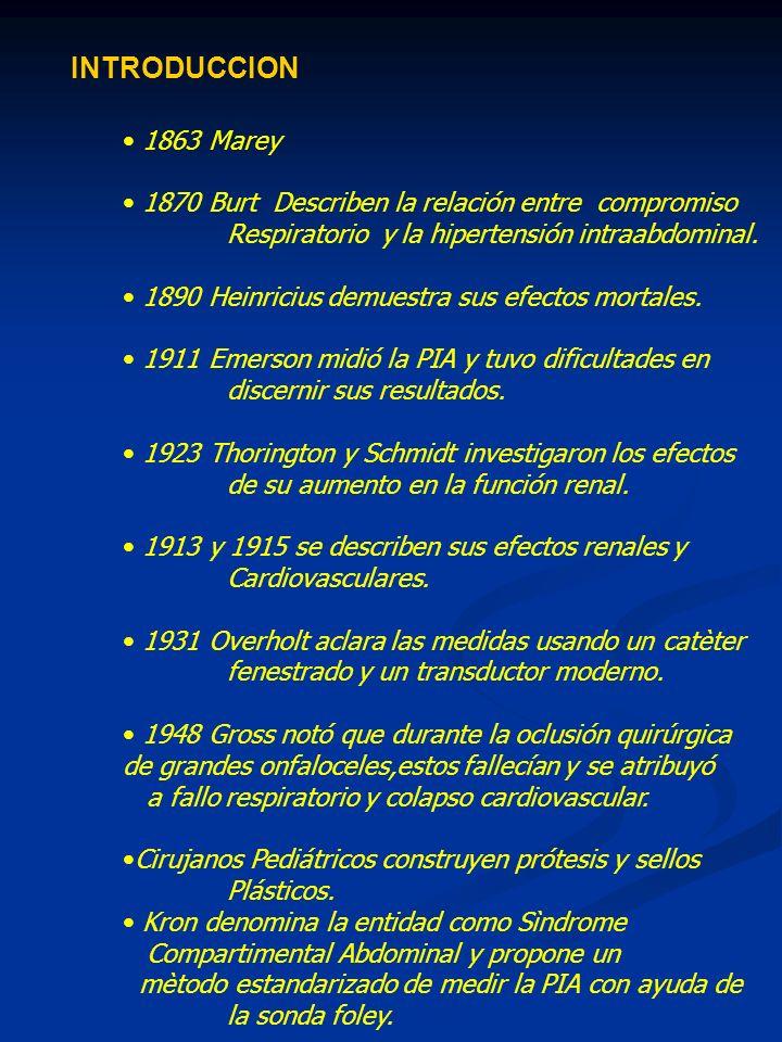INTRODUCCION1863 Marey. 1870 Burt Describen la relación entre compromiso. Respiratorio y la hipertensión intraabdominal.