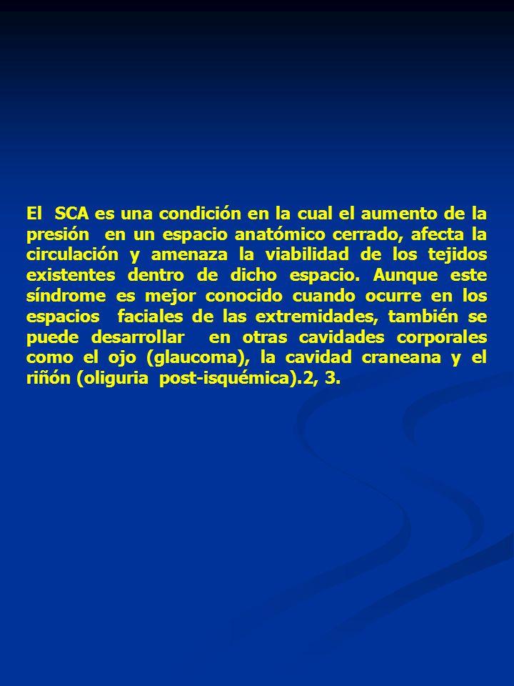 El SCA es una condición en la cual el aumento de la presión en un espacio anatómico cerrado, afecta la circulación y amenaza la viabilidad de los tejidos existentes dentro de dicho espacio.