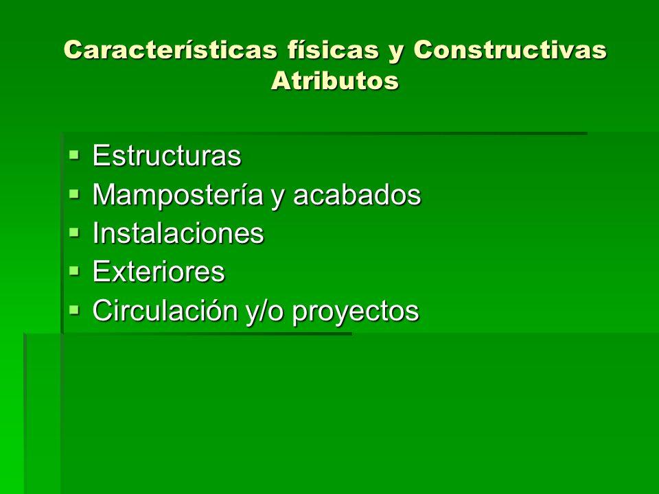Características físicas y Constructivas Atributos