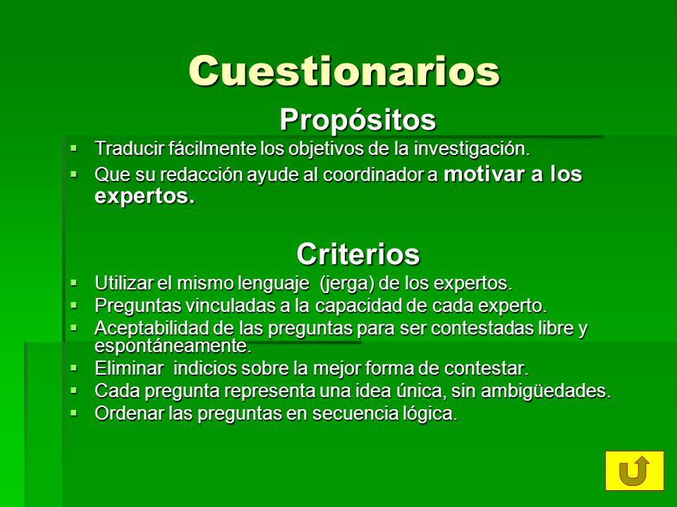 Cuestionarios Propósitos Criterios
