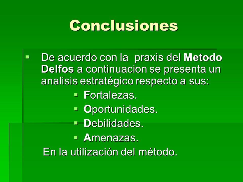 Conclusiones De acuerdo con la praxis del Metodo Delfos a continuacion se presenta un analisis estratégico respecto a sus: