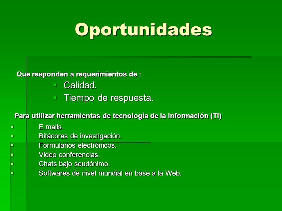 Oportunidades Que responden a requerimientos de : Calidad. Tiempo de respuesta. Para utilizar herramientas de tecnología de la información (TI)