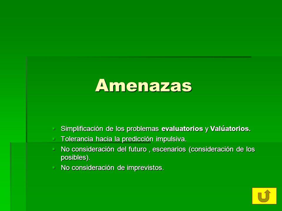 Amenazas Simplificación de los problemas evaluatorios y Valúatorios.