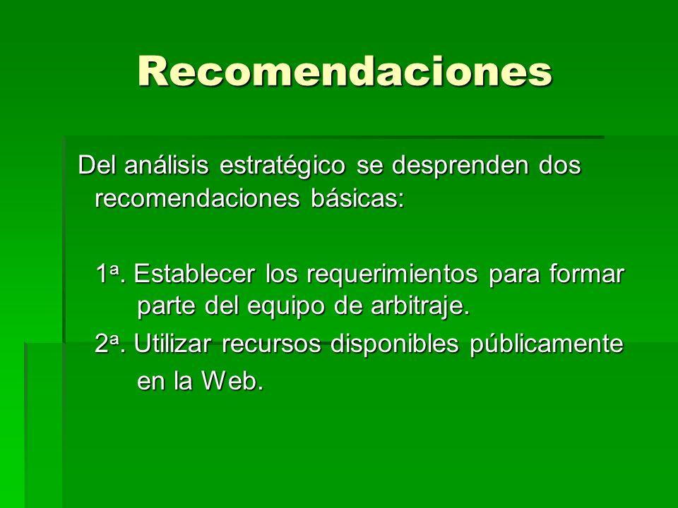 Recomendaciones Del análisis estratégico se desprenden dos recomendaciones básicas: