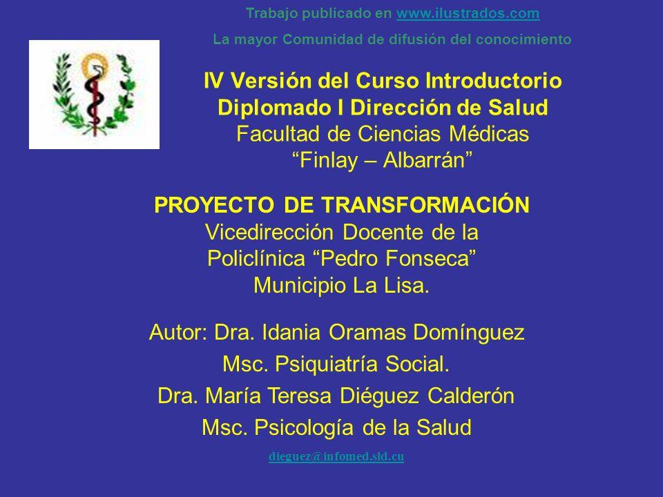 PROYECTO DE TRANSFORMACIÓN Vicedirección Docente de la