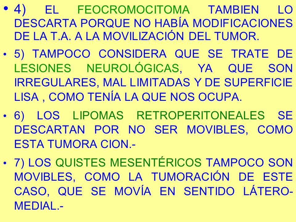 4) EL FEOCROMOCITOMA TAMBIEN LO DESCARTA PORQUE NO HABÍA MODIFICACIONES DE LA T.A. A LA MOVILIZACIÓN DEL TUMOR.