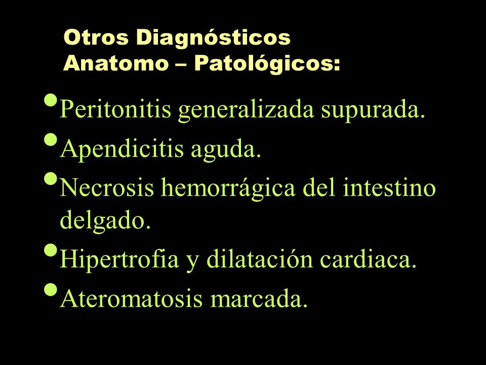 Peritonitis generalizada supurada. Apendicitis aguda.