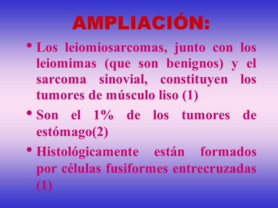 AMPLIACIÓN: Los leiomiosarcomas, junto con los leiomimas (que son benignos) y el sarcoma sinovial, constituyen los tumores de músculo liso (1)