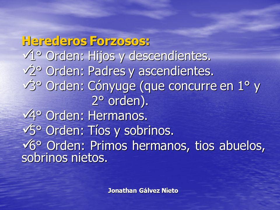 1° Orden: Hijos y descendientes. 2° Orden: Padres y ascendientes.