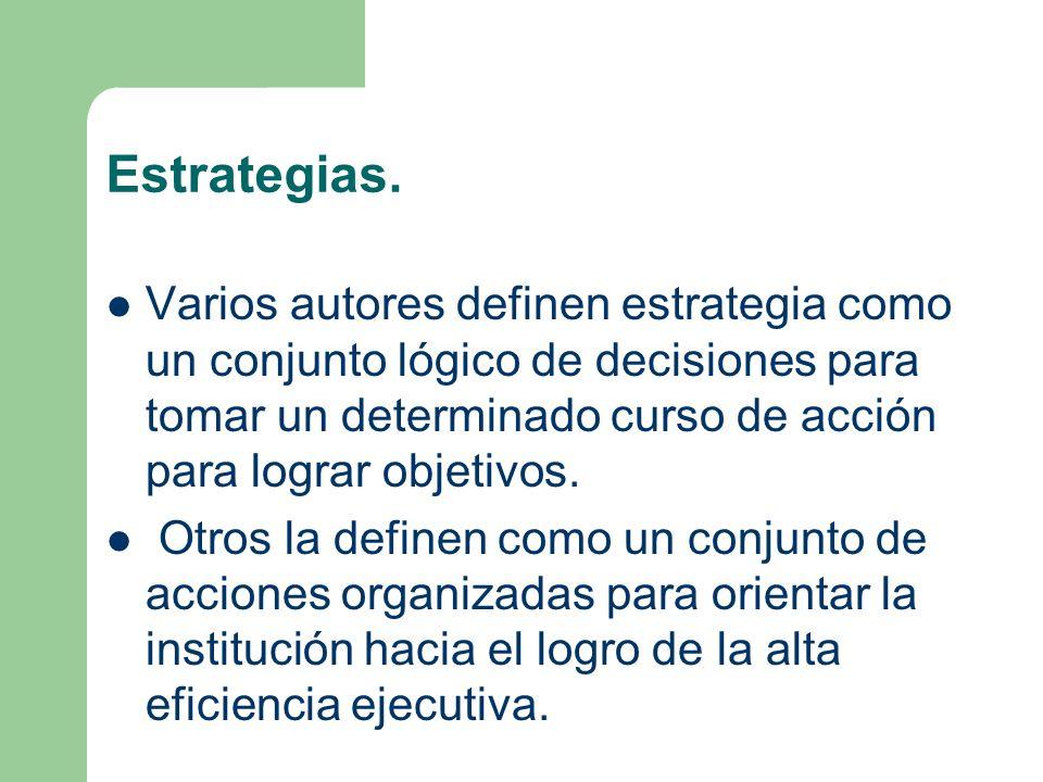 Estrategias. Varios autores definen estrategia como un conjunto lógico de decisiones para tomar un determinado curso de acción para lograr objetivos.
