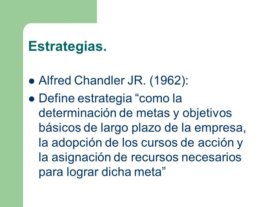 Estrategias. Alfred Chandler JR. (1962):