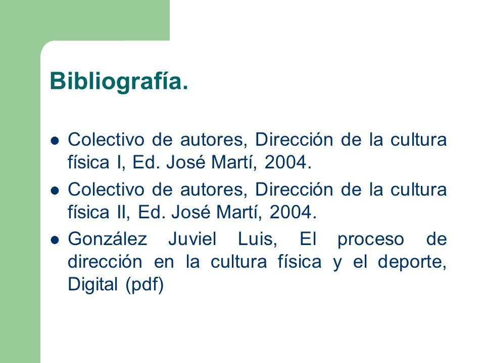 Bibliografía. Colectivo de autores, Dirección de la cultura física I, Ed. José Martí, 2004.