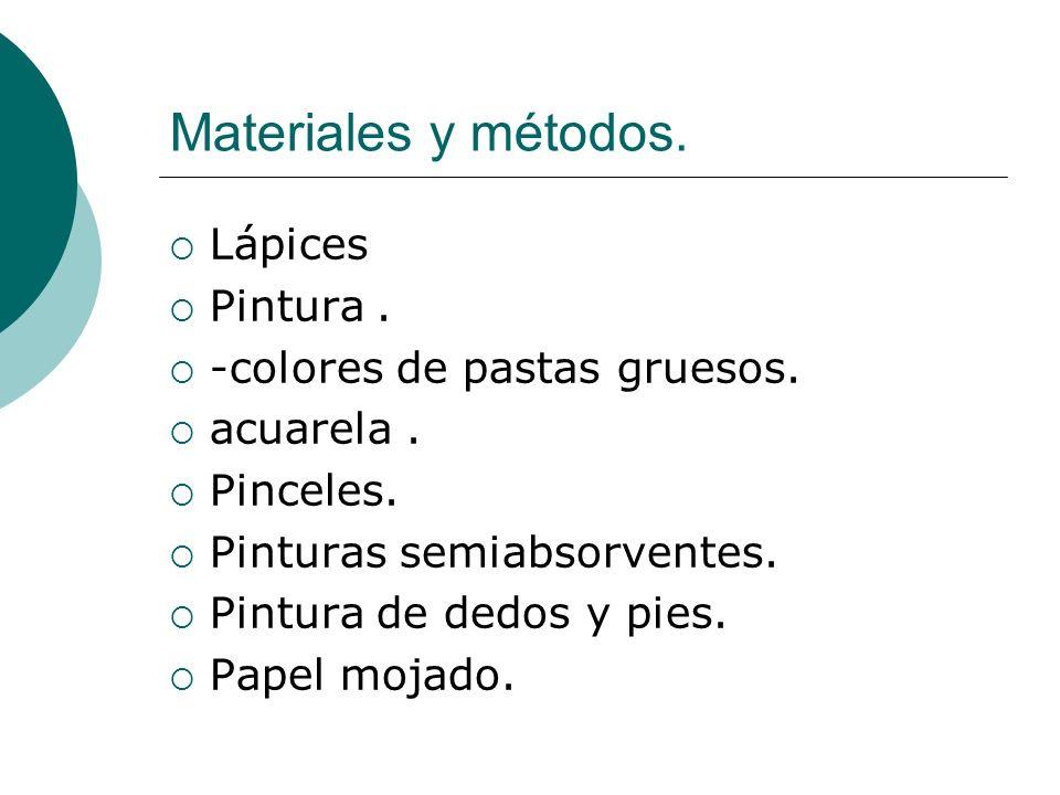 Materiales y métodos. Lápices Pintura . -colores de pastas gruesos.