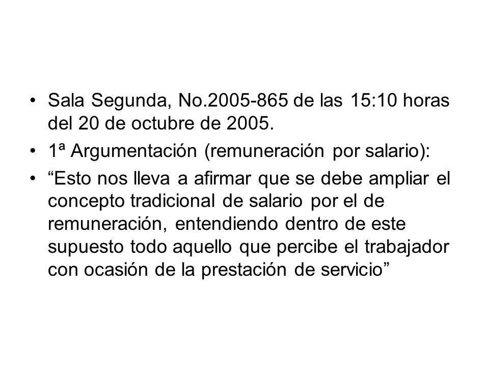 Sala Segunda, No.2005-865 de las 15:10 horas del 20 de octubre de 2005.