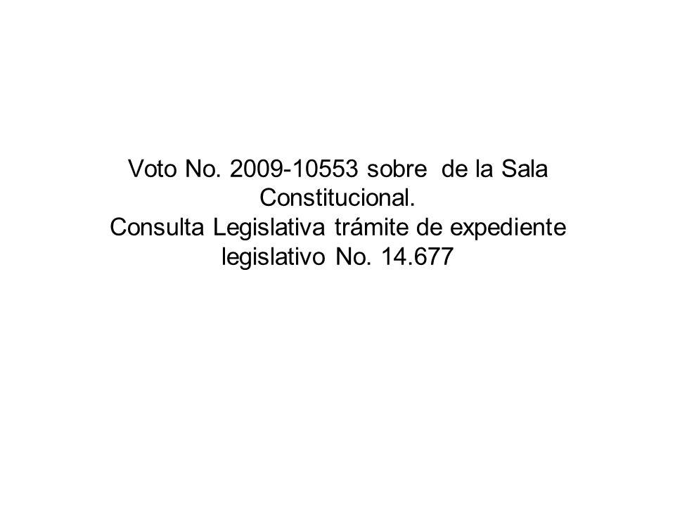 Voto No. 2009-10553 sobre de la Sala Constitucional