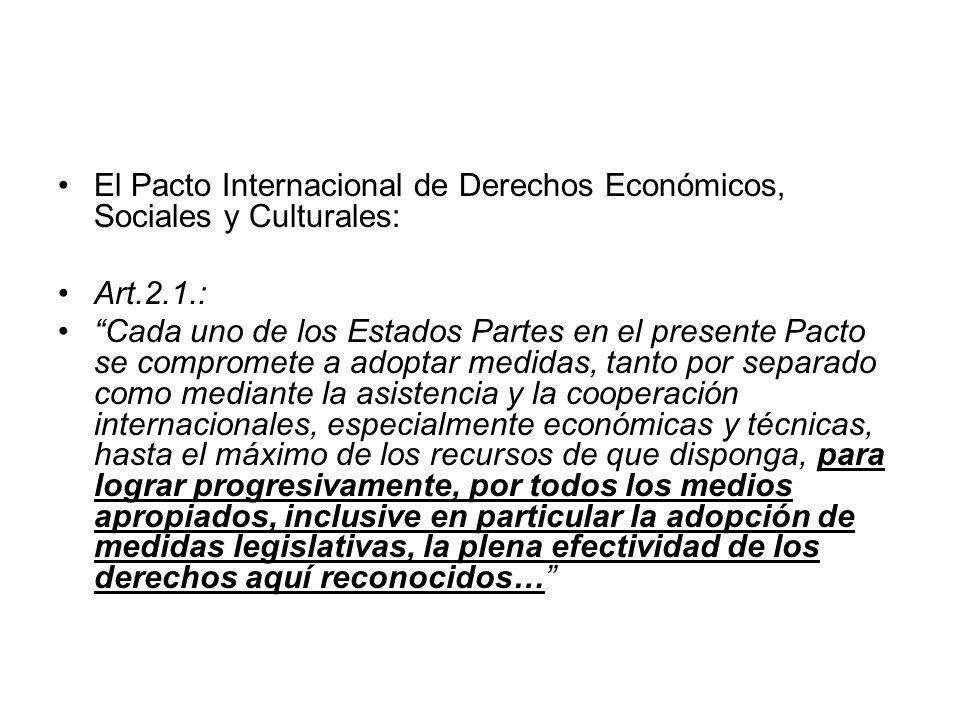 El Pacto Internacional de Derechos Económicos, Sociales y Culturales: