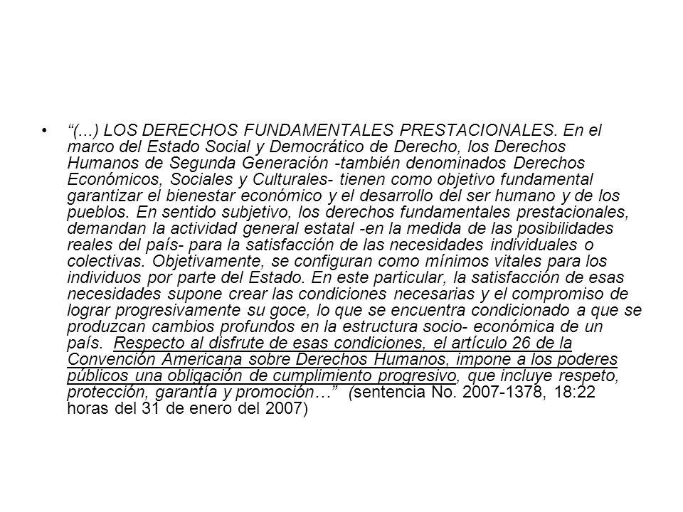 (. ) LOS DERECHOS FUNDAMENTALES PRESTACIONALES