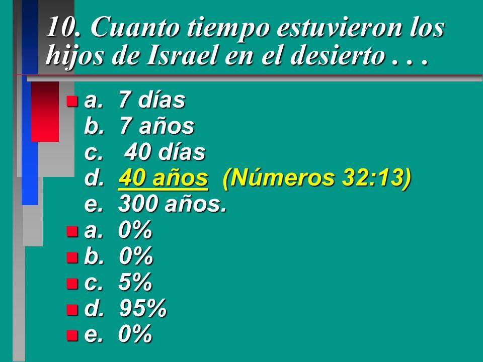 10. Cuanto tiempo estuvieron los hijos de Israel en el desierto . . .