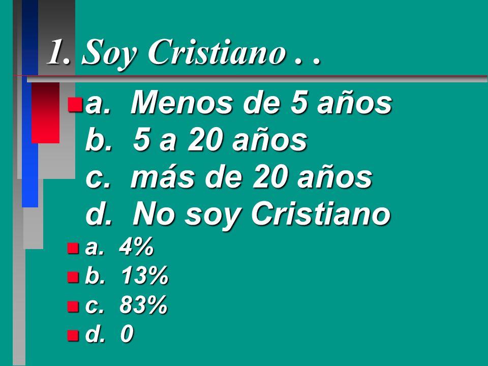 1. Soy Cristiano . .a. Menos de 5 años b. 5 a 20 años c. más de 20 años d. No soy Cristiano.