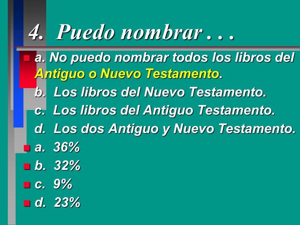 4. Puedo nombrar . . .a. No puedo nombrar todos los libros del Antiguo o Nuevo Testamento. b. Los libros del Nuevo Testamento.