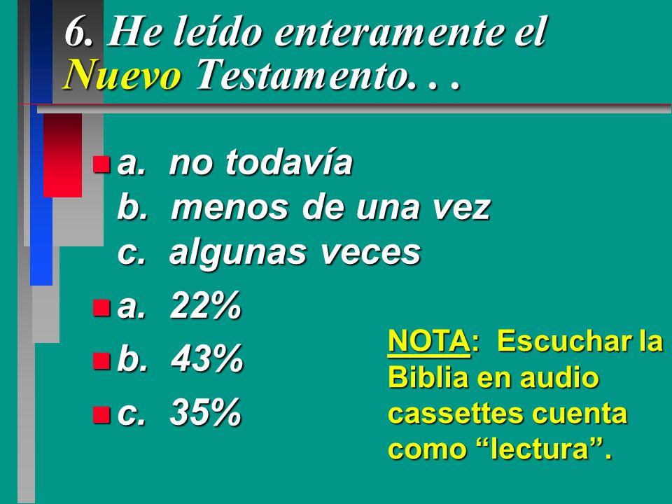 6. He leído enteramente el Nuevo Testamento. . .