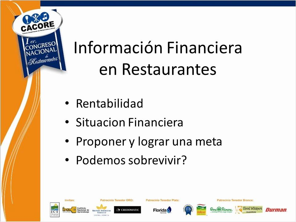 Información Financiera en Restaurantes