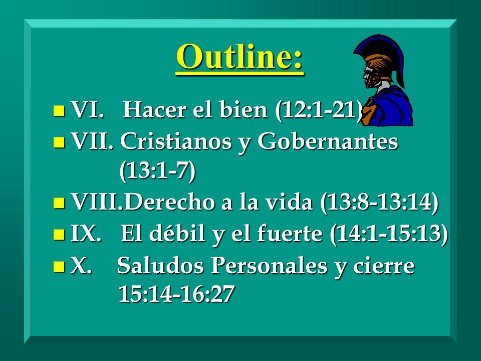 Outline: VI. Hacer el bien (12:1-21)