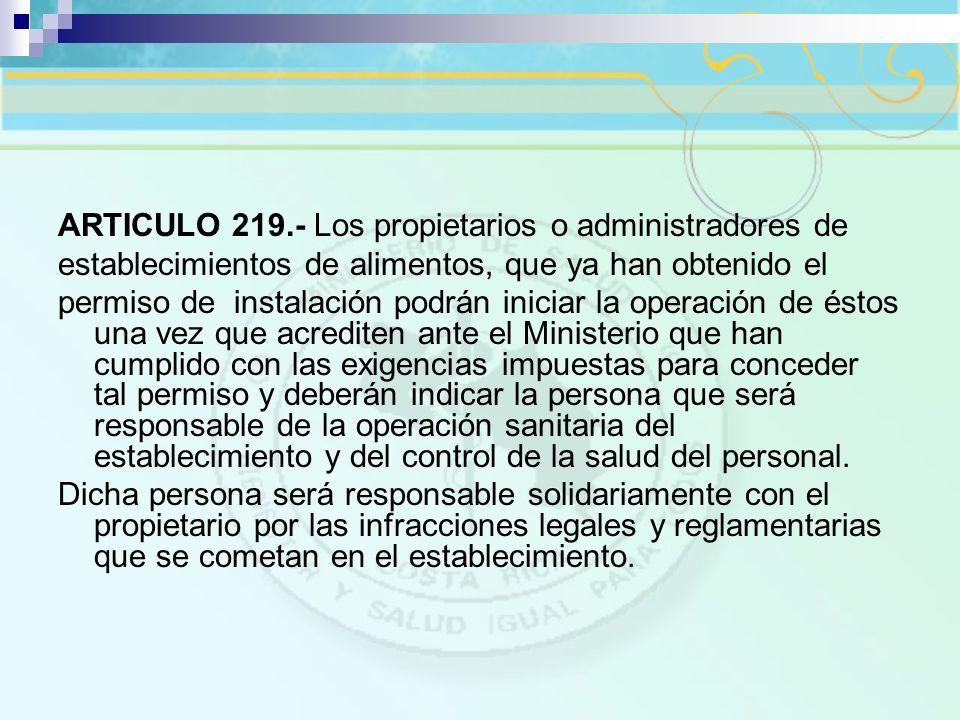 ARTICULO 219.- Los propietarios o administradores de