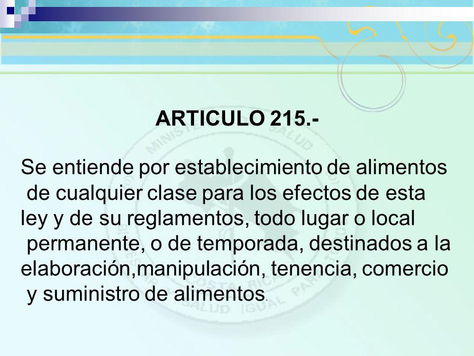 ARTICULO 215.- Se entiende por establecimiento de alimentos. de cualquier clase para los efectos de esta ley y de su reglamentos, todo lugar o local.
