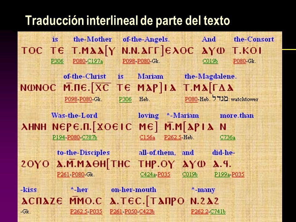 Traducción interlineal de parte del texto