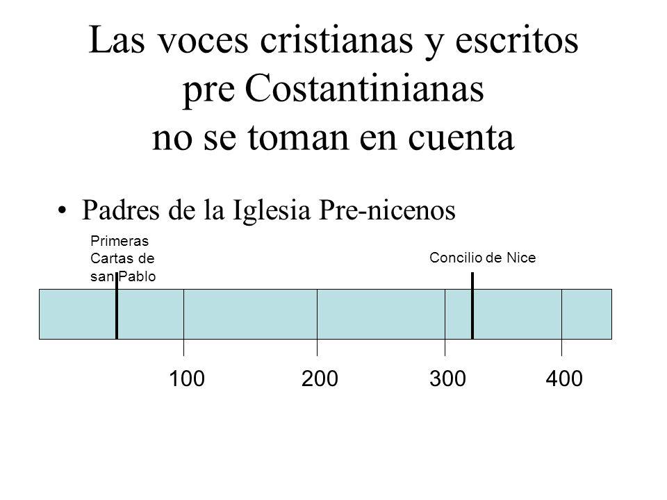 Las voces cristianas y escritos pre Costantinianas no se toman en cuenta
