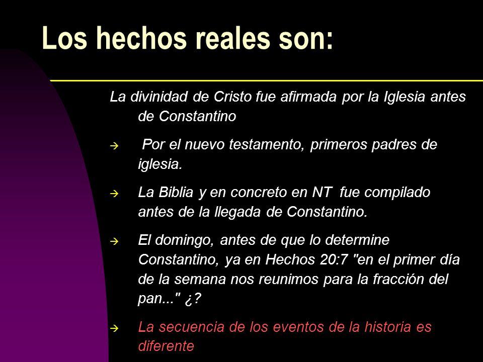 Los hechos reales son: La divinidad de Cristo fue afirmada por la Iglesia antes de Constantino. Por el nuevo testamento, primeros padres de iglesia.