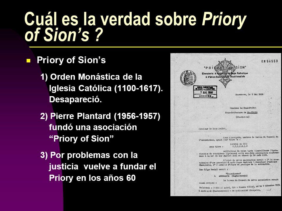 Cuál es la verdad sobre Priory of Sion's