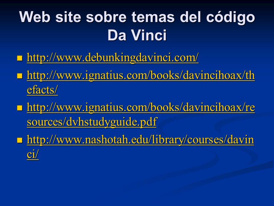 Web site sobre temas del código Da Vinci