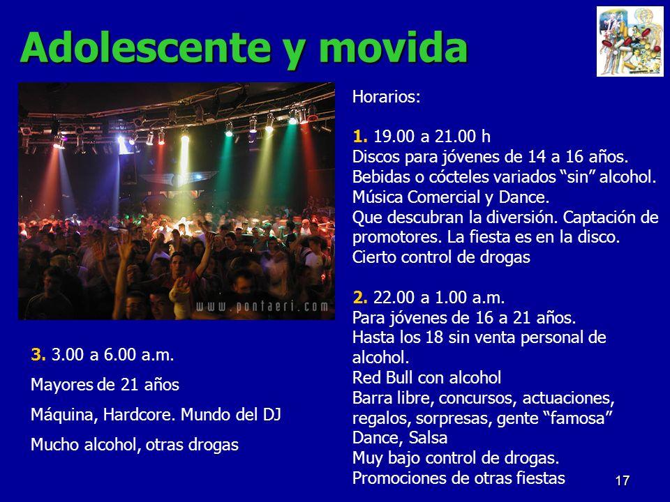Adolescente y movida Horarios: 1. 19.00 a 21.00 h