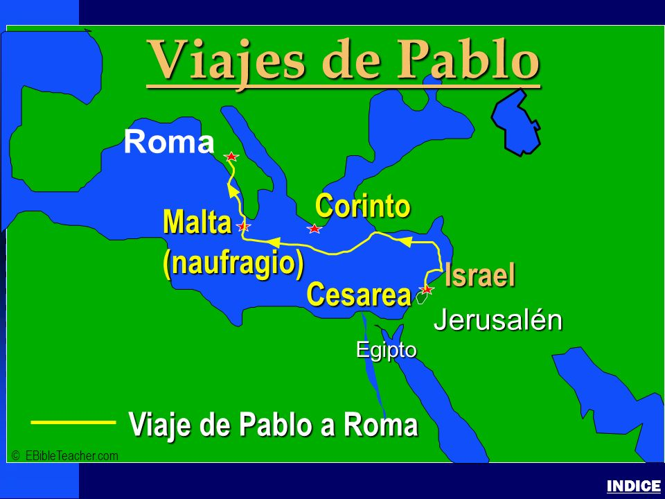 Viajes de Pablo Click to add text Roma Corinto Malta (naufragio)