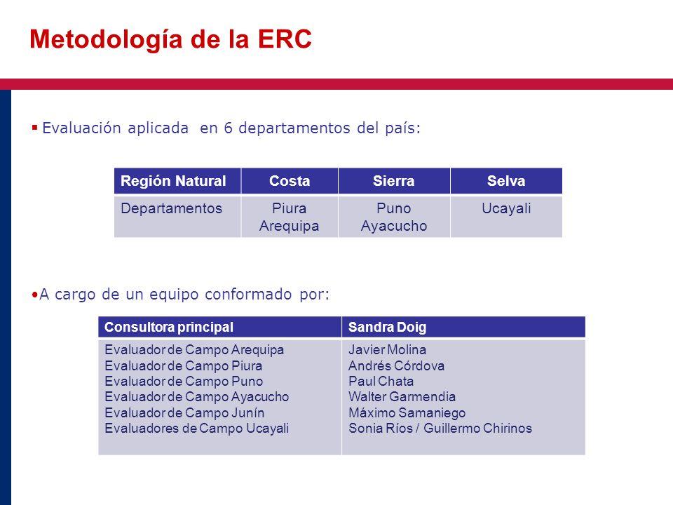 Metodología de la ERC Evaluación aplicada en 6 departamentos del país: