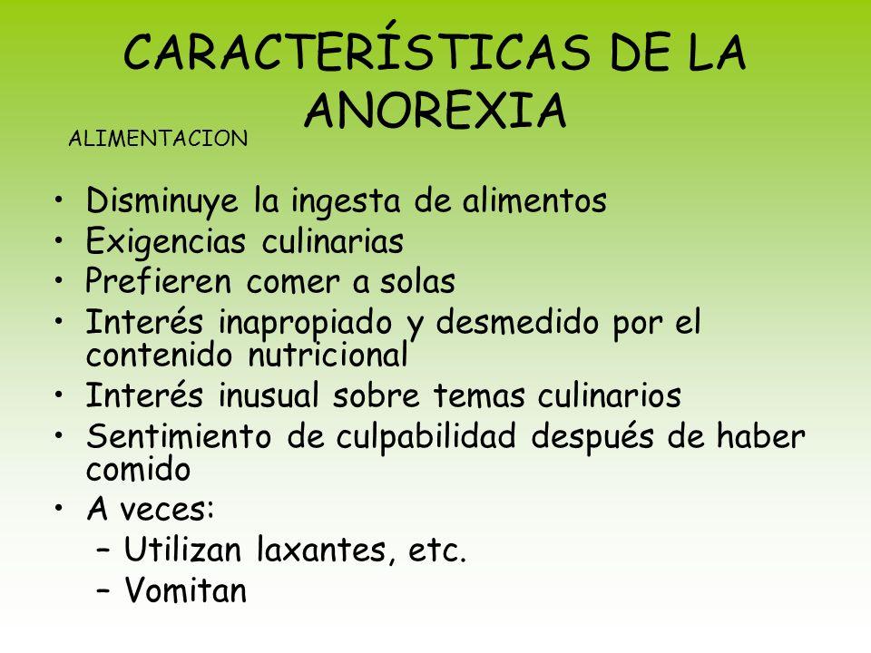 CARACTERÍSTICAS DE LA ANOREXIA