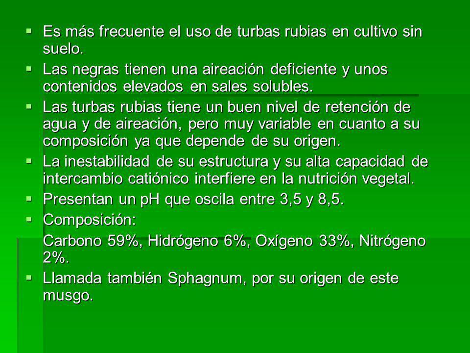 Es más frecuente el uso de turbas rubias en cultivo sin suelo.