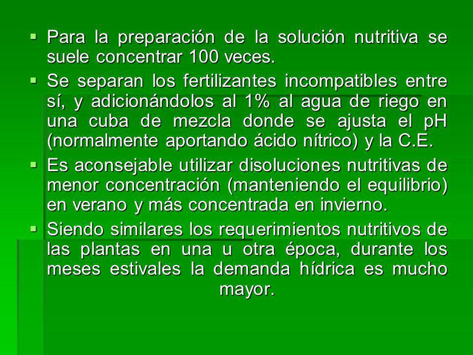 Para la preparación de la solución nutritiva se suele concentrar 100 veces.
