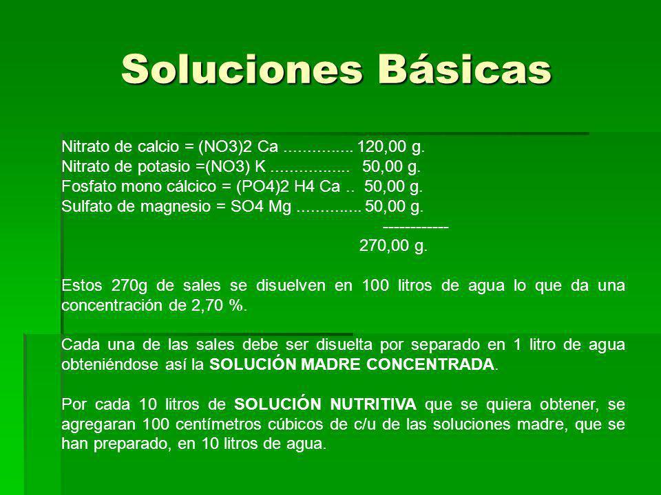 Soluciones Básicas Nitrato de calcio = (NO3)2 Ca ............... 120,00 g. Nitrato de potasio =(NO3) K ................. 50,00 g.