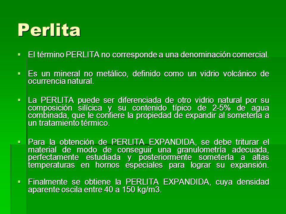 Perlita El término PERLITA no corresponde a una denominación comercial.