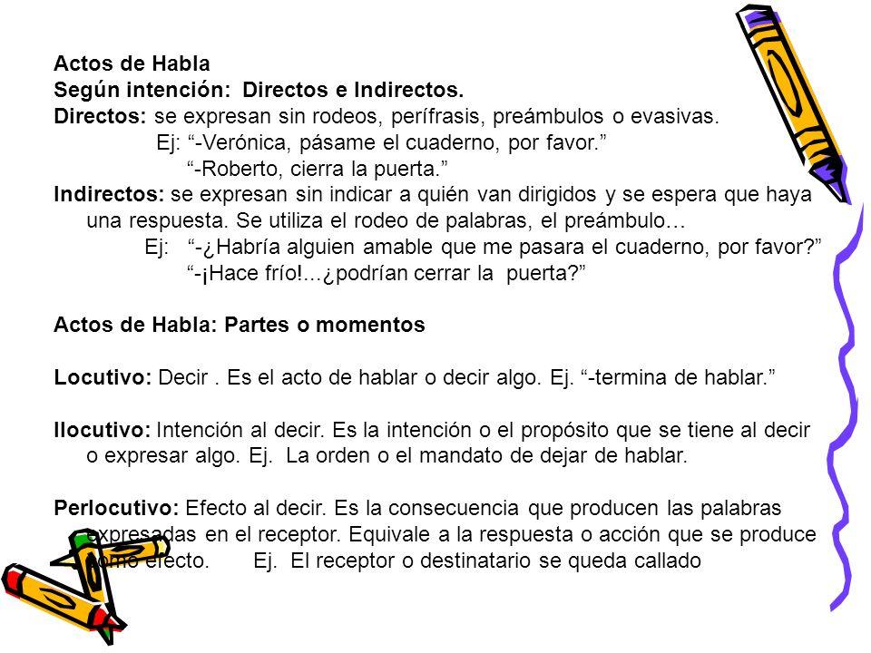 Actos de HablaSegún intención: Directos e Indirectos. Directos: se expresan sin rodeos, perífrasis, preámbulos o evasivas.