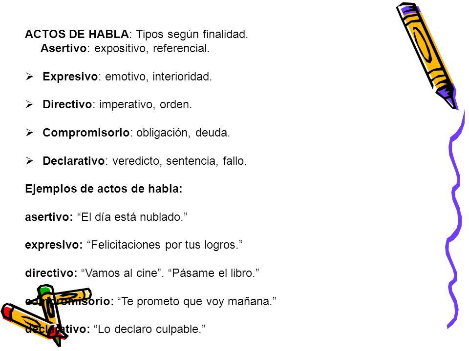 ACTOS DE HABLA: Tipos según finalidad.