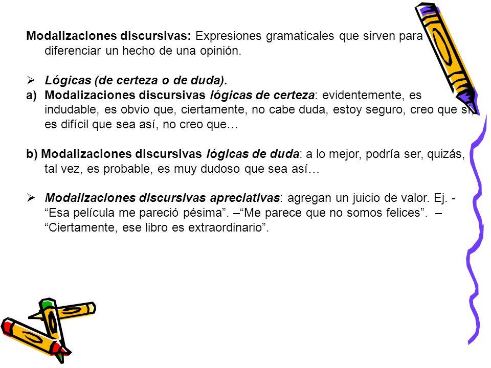 Modalizaciones discursivas: Expresiones gramaticales que sirven para diferenciar un hecho de una opinión.