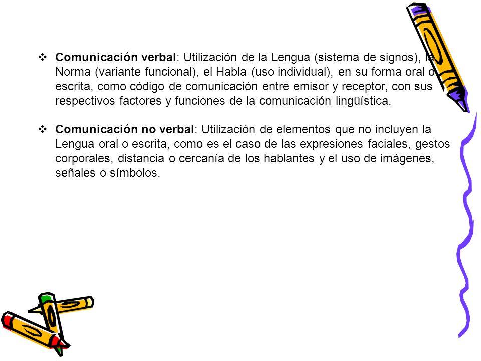Comunicación verbal: Utilización de la Lengua (sistema de signos), la Norma (variante funcional), el Habla (uso individual), en su forma oral o escrita, como código de comunicación entre emisor y receptor, con sus respectivos factores y funciones de la comunicación lingüística.